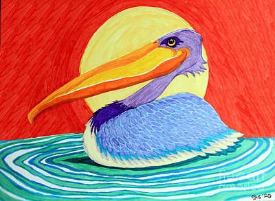 Animals Drawings - Pelican in the Sun  by Nick Gustafson