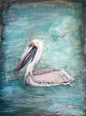 Mixed Media - Pelican In Water by Stephanie  Kriza
