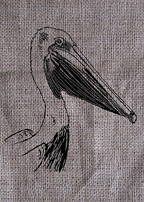 Pelican Drawing - Pelican On Burlap by Konni Jensen