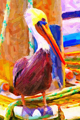 Pelican On The Dock Art Print