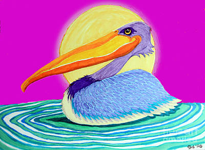 Pelican Drawing - Pelican On The Water 2 by Nick Gustafson