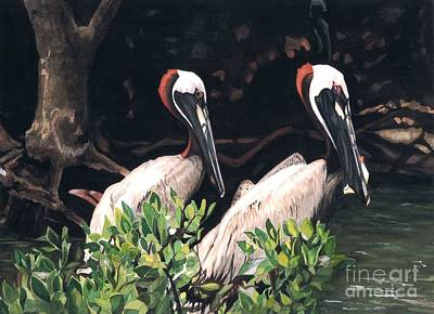 Painting - Pelican Pair by Barbara Jewell