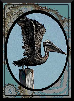 Pelican Mixed Media - Pelican Paradise by Karen Sheltrown