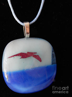 Glass Art - Pelican Pendant by Patricia  Tierney