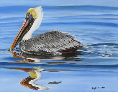 Waterfowl Painting - Pelican Ripples by Phyllis Beiser