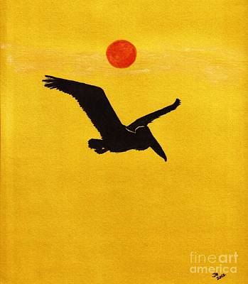 Drawing - Pelican - Silhouette by D Hackett