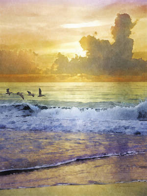 Digital Art - Pelican Sunrise by Francesa Miller