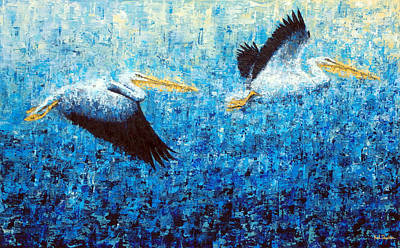 Painting - Pelicans 2 by Ned Shuchter