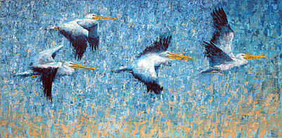Painting - Pelicans 3 by Ned Shuchter