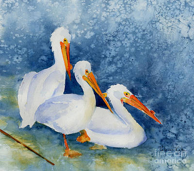Pelicans At The Weir Art Print by Pat Katz