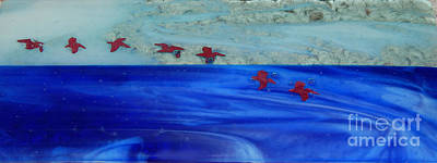 Glass Art - Pelicans In Flight by Patricia  Tierney
