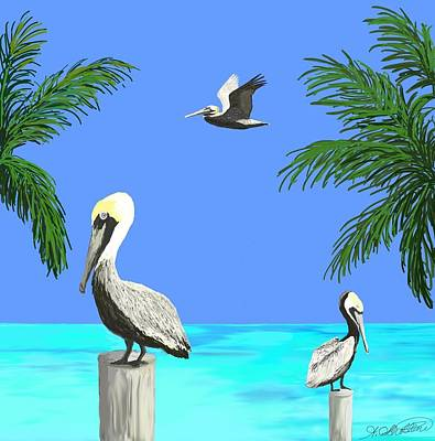 Pelicans In Meditation Art Print by Amy Scholten