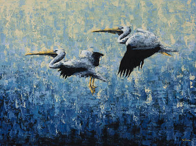 Pelicans Art Print by Ned Shuchter