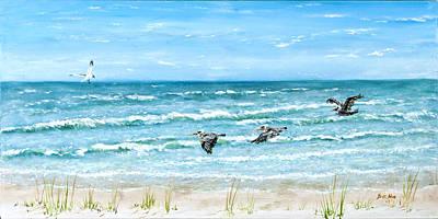Pelicans On Crescent Beach Art Print by Bruce Alan