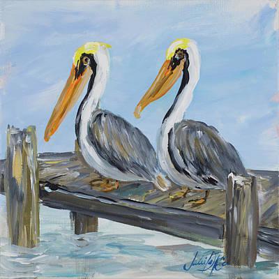 Pelican Digital Art - Pelicans On Deck by Julie Derice