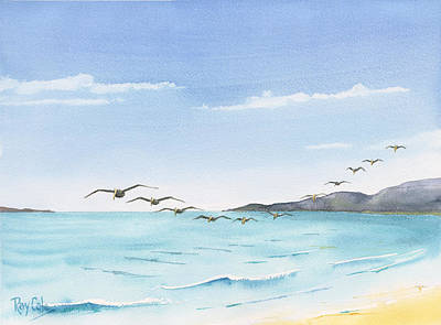 Ray Cole Painting - Pelicans by Ray Cole