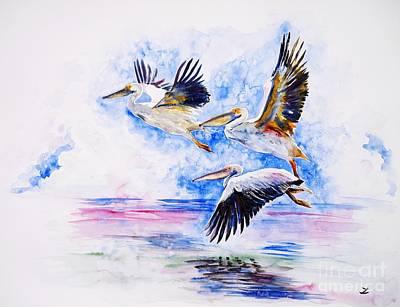 Painting - Pelicans by Zaira Dzhaubaeva