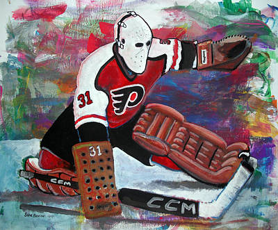 Ice Hockey Painting - Pelle Lindbergh by Steve Benton