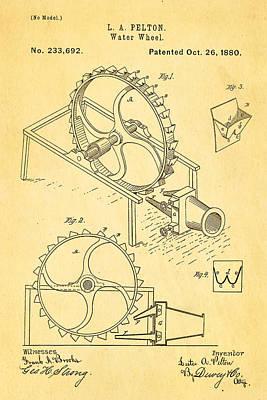 1880 Photograph - Pelton Water Wheel Patent Art 1880 by Ian Monk
