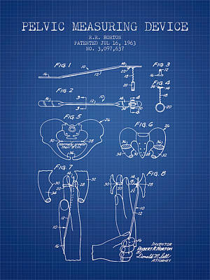 Pelvic Measuring Device Patent From 1963 - Blueprint Art Print by Aged Pixel