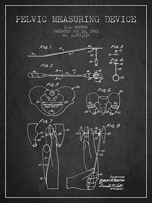 Pelvic Measuring Device Patent From 1963 - Charcoal Art Print by Aged Pixel