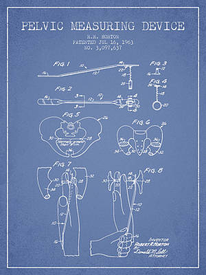 Pelvic Measuring Device Patent From 1963 - Light Blue Art Print by Aged Pixel