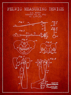 Pregnant Wall Art - Drawing - Pelvic Measuring Device Patent From 1963 - Red by Aged Pixel