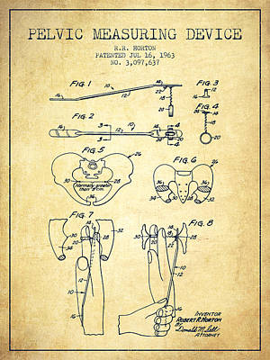Pregnant Drawing - Pelvic Measuring Device Patent From 1963 - Vintage by Aged Pixel