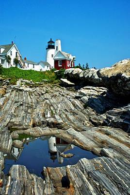 Pemaquid Lighthouse Reflections Maine Original by Lena Hatch