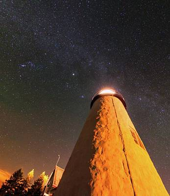 Pemaquid Point Lighthouse And Night Sky Art Print