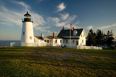 Pemaquid Point Lighthouse At Sunset Art Print