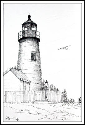 Drawing - Pemaquid Point Lighthouse by Mariarosa Rockefeller