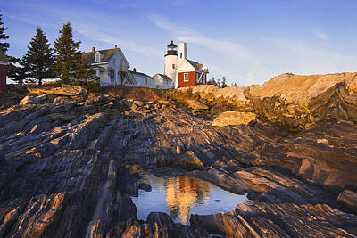 Pemaquid Point Lighthouse Reflection On The Coast Of Maine  Art Print by Keith Webber Jr
