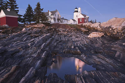 Pemaquid Point Lighthouse Tide Pool Reflection On Maine Coast Art Print by Keith Webber Jr