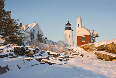 Winter In Maine Photograph - Pemaquid Point Lighthouse Winter In Maine  by Keith Webber Jr