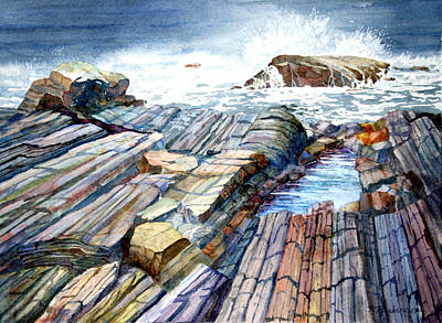 Painting - Pemaquid Rocks by Roger Rockefeller