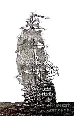 Pen And Ink Drawing Of Sail Ship In Black And White Original by Mario Perez