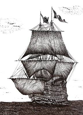 Navies Drawing - Pen And Ink Drawing Of Sailing Ship In Black And White by Mario Perez