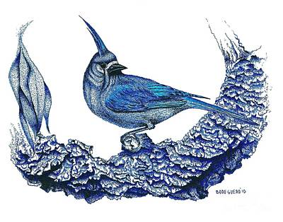 Pen Drawing - Pen And Ink Drawing Of Small Blue Bird  by Mario Perez