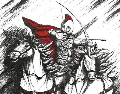 Arrows Drawing - Pen And Ink Drawing Of Soldier With Horses by Mario Perez