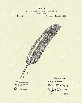 Pen Holder 1889 Patent Art Art Print by Prior Art Design