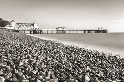 Photograph - Penarth Pier Long Exposure 2 Mono by Steve Purnell