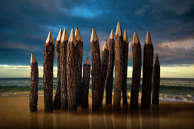 Conceptual Photograph - Pencil Beach by D.a.wagner