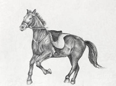 Paper Images Drawing - Pencil Drawing Of A Running Horse by Kiril Stanchev