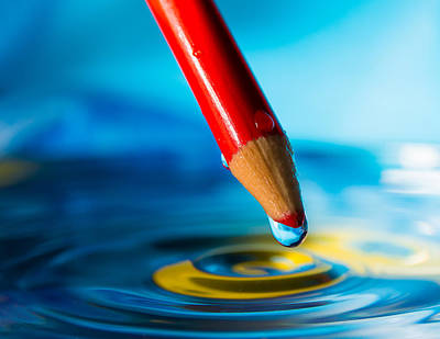 Drippy Photograph - Pencil Water Drop by Alissa Beth Photography