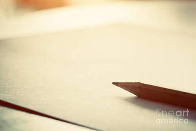 Homework Photograph - Pencil Lying On Blank Paper In Morning Light by Michal Bednarek