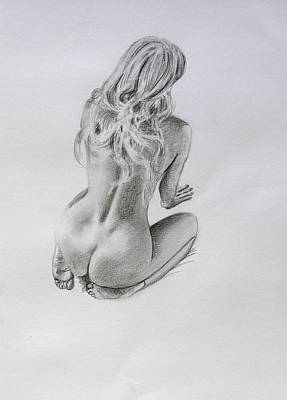 Drawing - Pencil Nude 26 by Steve Jones