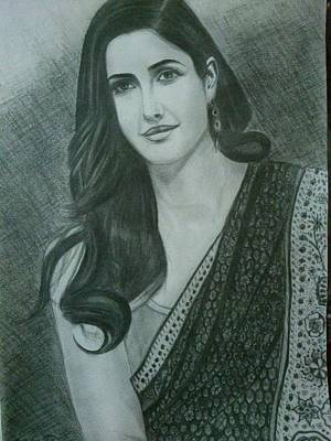 Katrina Kaif Drawing - Pencil Sketch Of Katrina Kaif by Parvez Khasim