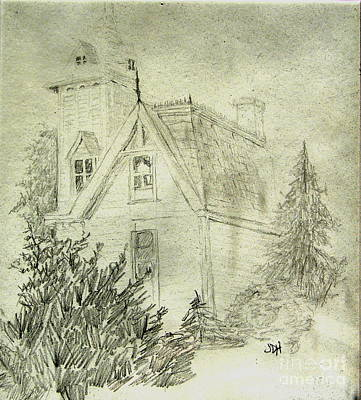 Pencil Sketch Of Old House Art Print