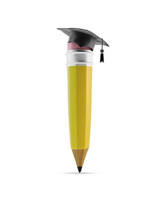Pencil With Graduation Cap Art Print by Andrzej Wojcicki